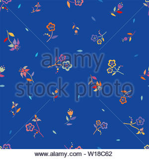 Colorful traditional folk flowers seamless vector repeating background . Small floral pattern. Dirndl, great as a summer textile fabric, fun invitatio - Stock Photo