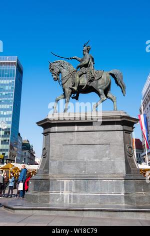 Memorial statue of Ban Josip Jelacic, Trg bana Josipa Jelacica, Zagreb, Croatia - Stock Photo