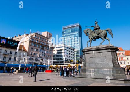 Trg bana Josipa Jelacica, with memorial statue of Ban Josip Jelacic, Zagreb, Croatia - Stock Photo