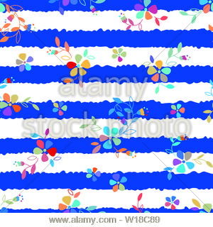 Colorful Folk Flowers seamless vector repeating background. Small florals pattern. Dirndl, Trachtenstoff, Tracht - Great for Textiles, Banners, Wallpa - Stock Photo