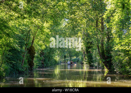 Tourists in a rowboat on a water canal visiting the Green Venice in the Marais Poitevin, France - Stock Photo