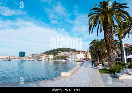 Riva, seaside promenade, Split, Dalmatia, Croatia - Stock Photo