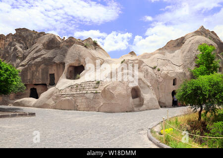 Temple in cave in medieval open air Christian monastery complex Goreme, Cappadocia, Turkey. UNESCO world heritage site - Stock Photo
