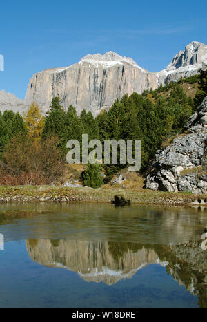 sella group, lake near the pordoi pass, val di fassa, dolomiti (dolomites), trentino, italy - Stock Photo