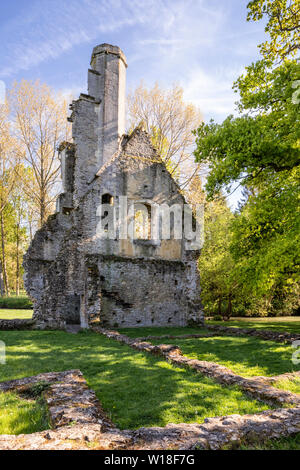 Evening light on the ruins of Minster Lovell Hall, a 15th century manor house beside the River Windrush, Minster Lovell, Oxfordshire UK - Stock Photo