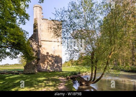 Evening light on the ruins of Minster Lovell Hall, a 15th century manor house on the banks of the River Windrush, Minster Lovell, Oxfordshire UK - Stock Photo