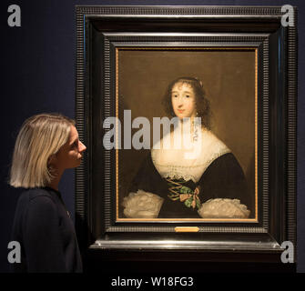 Bonhams, London, UK. 1st July 2019. Works by Brueghel, Constable and de Ribera on display in the Old Masters sales preview, to be sold on 3 July 2019. Image: Cornelius Jonson van Ceulen, Portrait of a Lady, said to be Lettice, Lady Falkland (c. 1612-1647). Estimate £12,000-18,000. Credit: Malcolm Park/Alamy Live News. - Stock Photo