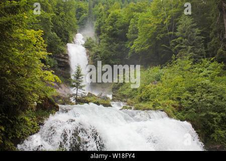 Cascades of the Giessbach Falls, Bernese Oberland. Switzerland. - Stock Photo