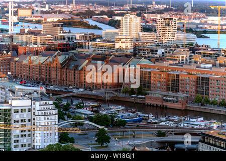 Speicherstadt, Hafencity, Strandkai in Hamburg aus der Luft - Stock Photo