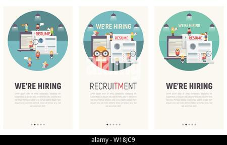 Mobile App Page Onboard Screen Set. Screens Template for HR Recruitment Website or Web Page. Vector Illustration. - Stock Photo