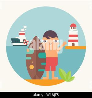 Surfing Poster. Funny Cartoon Surfer  with Surfboard, Lighthouse and Steamship. Vector Illustration. Retro Design. Emblem for Surfing Club, Website or - Stock Photo