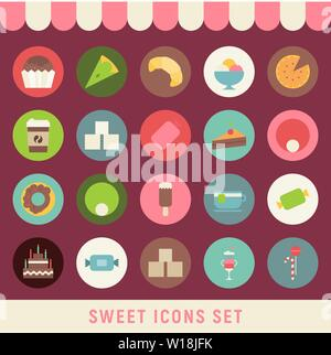 Collection of Sweets in Flat Style. Sweets, Cupcake, Donut, Ice Cream, Croissant, Big Cake, Coffee in Retro Design. Vector Illustration. - Stock Photo