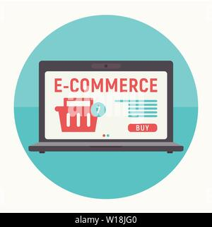 Flat Design Concept of E-commerce Online - Huge Laptop with Storefront. Vector Illustration for Social Media and Landing Page. Retro Colors. Shopping - Stock Photo