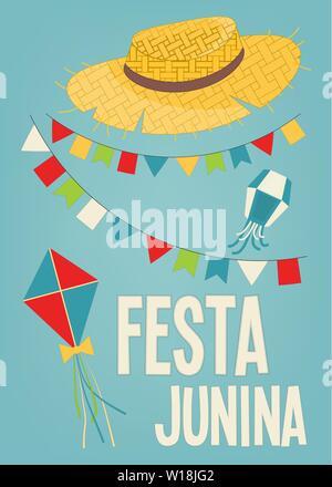 Festa Junina - Brazil June Festival. Poster for Folklore Holiday. Straw Hat and Garland on Blue Background. Vector Illustration. - Stock Photo