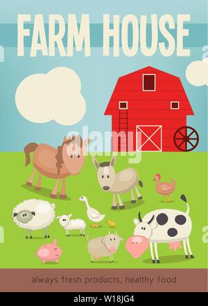 Farm House Market  Poster Template. Farmers Market. Healthy Food, Organic Products and Farming Concept. Funny Farm Animals. Vector Illustration. - Stock Photo