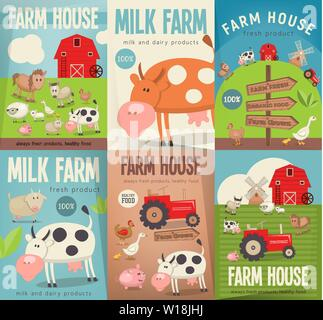 Farm House Posters Set. Farmers Market. Healthy Food, Organic Products and Farming Concept. Retro Style. Vector Illustration. Farm Animals, Livestock. - Stock Photo
