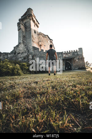 Photo of medieval castle in Austria burg lichtenstein in summer - Stock Photo