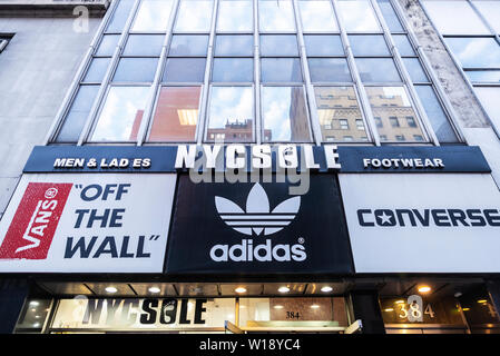 Converse store in New York, USA with its signage on facade
