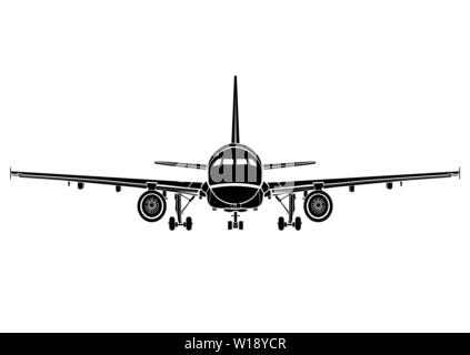 Aircraft flat icon, airplane silhouette, flying machine black and white drawing full face, plane front view, outline sketch, vehicle emblem, transport - Stock Photo