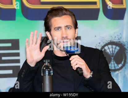 Seoul, South Korea. 1st July, 2019. Actor Jake Gyllenhaal speaks during a promotion activity of the film 'Spider-Man: Far From Home' in Seoul, South Korea, July 1, 2019. The movie will be released in South Korea on July 2. Credit: Lee Sang-ho/Xinhua/Alamy Live News - Stock Photo