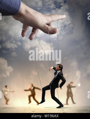 control,employee,puppet,puppet theater - Stock Photo