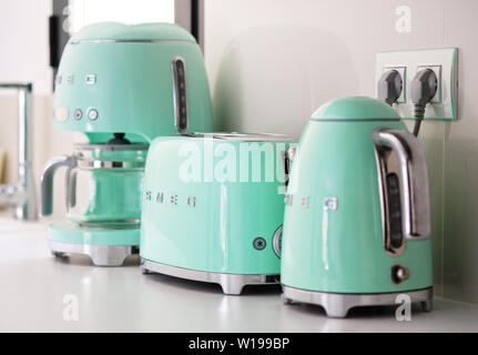 Torrevieja, Spain - June1, 2019: On kitchen counter top closeup in row SMEG brand kitchen appliances for easy life - Stock Photo