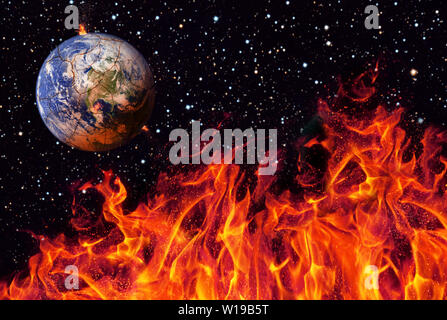 Apocalypse, the earth destroyed by exploding sun . End of The Time. Science fiction art. Elements of this image furnished by NASA .