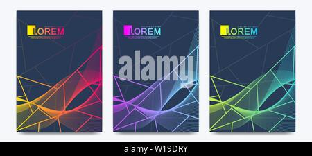 Modern vector template wedding invitation cards with marble texture background and colorful geometric lines in the A4 size - Stock Photo