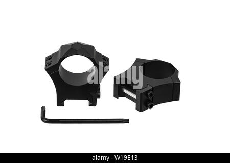 Quick disconnect mount made for holding a scope on a rifle isolated on white background. Quick Release Sniper Cantilever Scope Mount - Stock Photo