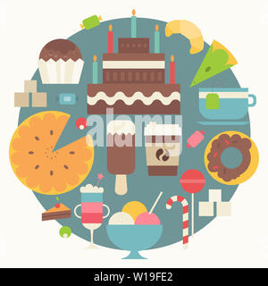 Collection of Sweets in Flat Style. Sweets, Cupcake, Donut, Ice Cream, Croissant, Big Cake, Coffee on Blue Circle  Background. Vector Illustration. Re - Stock Photo