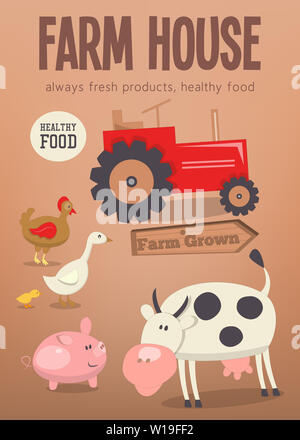 Farm House Poster. Farmers Market. Farm Animals set, Livestock and Tractor. Farming Concept Template Placard. Vector Illustration. Stock Photo