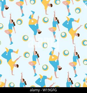 Vector seamless pattern with dancing people. Dance party, competition. Street modern dance. Design for textile, banner, poster or print. - Stock Photo