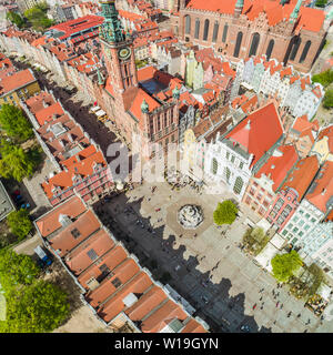 Long Market in Gdansk with the fountain of Neptune bird's eye view. Tourist part of the city. - Stock Photo