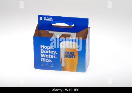 Bud Light empty beer 6 pack from Anheuser-Bush - Stock Photo