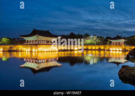 Donggung Palace and Wolji Pond, also known as Anapji in Gyeongju National Park, South Korea. - Stock Photo