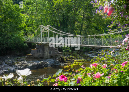 Wales, Denbighshire, Llangollen, Berwyn River Dee Chainbridge - Stock Photo
