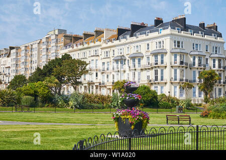 Victorian terraces and gardens at Warrior Square, St Leonards On Sea, East Sussex, on the South Coast of England - Stock Photo