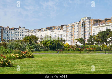 Warrior Gardens and Warrior Square in summer at St Leonards On Sea, East Sussex, UK - Stock Photo