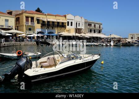 View of the old port of Rethimnon, Crete, Greece. - Stock Photo
