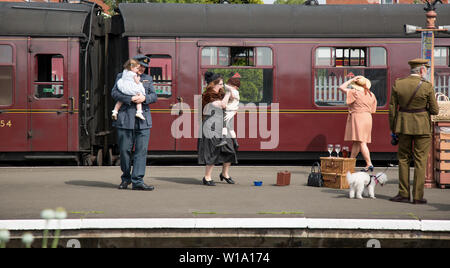 Kidderminster, UK. 29th June, 2019. Severn Valley Railways 'Step back to the 1940's' gets off to a fabulous start this weekend with costumed re-enactors playing their part in providing an authentic recreation of wartime Britain. Credit: Lee Hudson - Stock Photo
