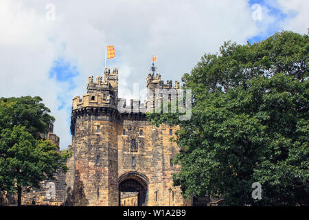 A view of the massive Medieval castle of Lancaster, northwest England, UK.