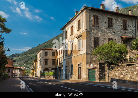 The street of a small town on Lake Iseo. Sale Marasino. Italy - Stock Photo