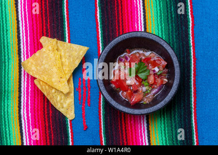 overview of chimichurri on wood - Stock Photo