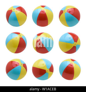 Beach balls set isolated on white background - Stock Photo