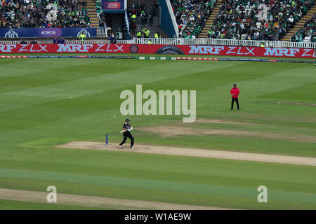 28th June 2019 - New Zealand batsman avoiding a bouncer during their 2019 ICC Cricket World Cup game against Pakistan at Edgbaston - Stock Photo