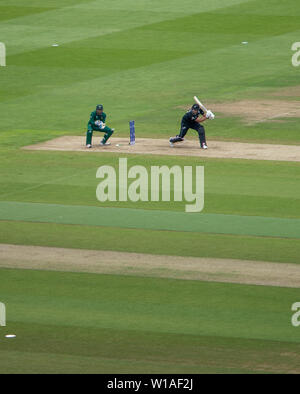 28th June 2019 - New Zealand batsman punching the ball to point during their 2019 ICC Cricket World Cup game against Pakistan at Edgbaston, UK - Stock Photo