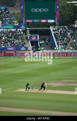 28th June 2019 - New Zealand batsman pushing the ball to point during their 2019 ICC Cricket World Cup game against Pakistan at Edgbaston, UK - Stock Photo
