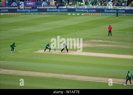 28th June 2019 - New Zealand batsman leaving the ball to the keeper during their 2019 ICC Cricket World Cup game against Pakistan at Edgbaston, UK - Stock Photo