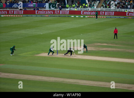 28th June 2019 - New Zealand batsman pushing and missing the ball during their 2019 ICC Cricket World Cup game against Pakistan at Edgbaston - Stock Photo