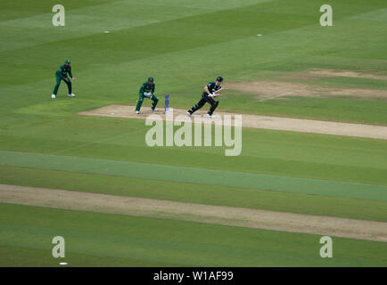 28th June 2019 - New Zealand batsman pushing the ball to square leg during their 2019 ICC Cricket World Cup game against Pakistan at Edgbaston - Stock Photo